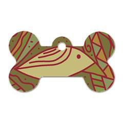 Brown bird Dog Tag Bone (One Side)