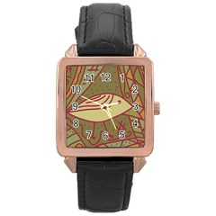 Brown bird Rose Gold Leather Watch