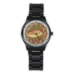 Brown bird Stainless Steel Round Watch