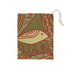 Brown bird Drawstring Pouches (Medium)