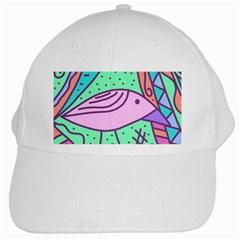 Pink pastel bird White Cap