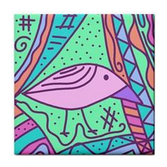 Pink Pastel Bird Tile Coasters