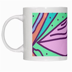 Pink pastel bird White Mugs