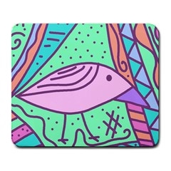 Pink pastel bird Large Mousepads