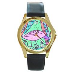 Pink pastel bird Round Gold Metal Watch