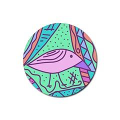 Pink pastel bird Rubber Coaster (Round)