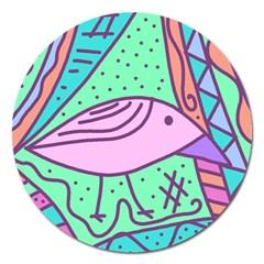 Pink pastel bird Magnet 5  (Round)