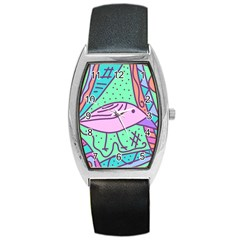 Pink pastel bird Barrel Style Metal Watch