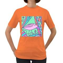 Pink pastel bird Women s Dark T-Shirt