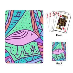 Pink pastel bird Playing Card