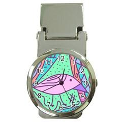 Pink pastel bird Money Clip Watches