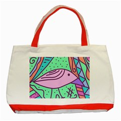 Pink pastel bird Classic Tote Bag (Red)