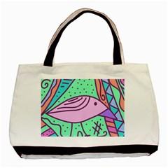 Pink pastel bird Basic Tote Bag (Two Sides)