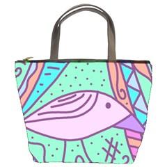 Pink pastel bird Bucket Bags
