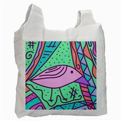 Pink pastel bird Recycle Bag (Two Side)