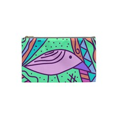 Pink pastel bird Cosmetic Bag (Small)