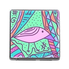 Pink pastel bird Memory Card Reader (Square)