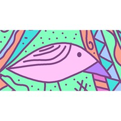 Pink pastel bird YOU ARE INVITED 3D Greeting Card (8x4)