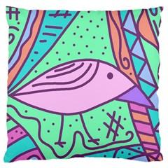 Pink pastel bird Large Cushion Case (Two Sides)