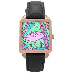 Pink pastel bird Rose Gold Leather Watch