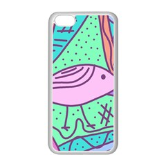 Pink pastel bird Apple iPhone 5C Seamless Case (White)
