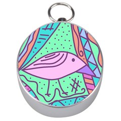 Pink pastel bird Silver Compasses