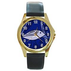 Blue bird Round Gold Metal Watch