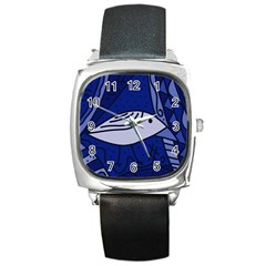 Blue bird Square Metal Watch