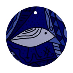 Blue bird Round Ornament (Two Sides)