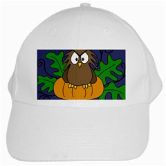 Halloween owl and pumpkin White Cap