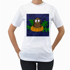 Halloween owl and pumpkin Women s T-Shirt (White) (Two Sided)