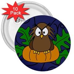 Halloween owl and pumpkin 3  Buttons (10 pack)
