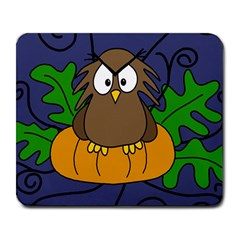 Halloween owl and pumpkin Large Mousepads