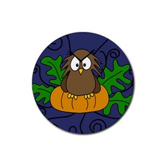 Halloween owl and pumpkin Rubber Round Coaster (4 pack)