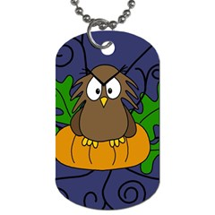 Halloween owl and pumpkin Dog Tag (Two Sides)