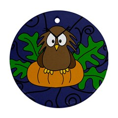 Halloween owl and pumpkin Round Ornament (Two Sides)