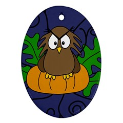 Halloween owl and pumpkin Oval Ornament (Two Sides)