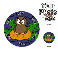 Halloween owl and pumpkin Playing Cards 54 (Round)