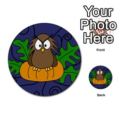Halloween owl and pumpkin Multi-purpose Cards (Round)