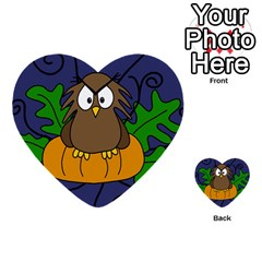 Halloween owl and pumpkin Multi-purpose Cards (Heart)