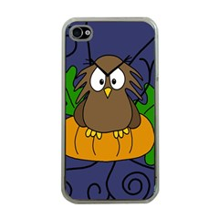 Halloween owl and pumpkin Apple iPhone 4 Case (Clear)