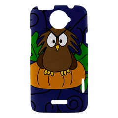 Halloween owl and pumpkin HTC One X Hardshell Case