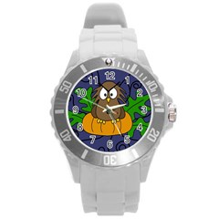 Halloween owl and pumpkin Round Plastic Sport Watch (L)
