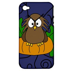 Halloween owl and pumpkin Apple iPhone 4/4S Hardshell Case (PC+Silicone)