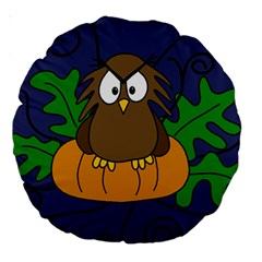 Halloween owl and pumpkin Large 18  Premium Round Cushions