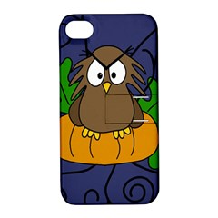 Halloween owl and pumpkin Apple iPhone 4/4S Hardshell Case with Stand