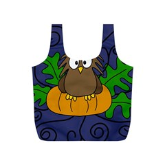 Halloween owl and pumpkin Full Print Recycle Bags (S)