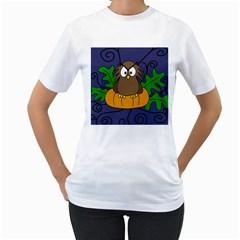Halloween owl and pumpkin Women s T-Shirt (White)