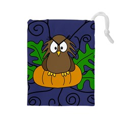 Halloween owl and pumpkin Drawstring Pouches (Large)