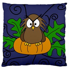 Halloween owl and pumpkin Standard Flano Cushion Case (Two Sides)